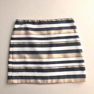 J.CREW Metallic Stripe skirt Sz 0